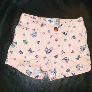 Toddler girls pull on shorts with adjustable waist